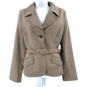H&M Two Button Long Sleeve Tulip Cuff Belted Blazer Brown - 10